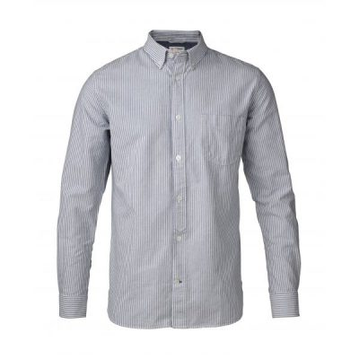 KnowledgeCotton Apparel - Button Down Oxford Shirt (Striped)
