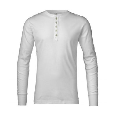 KnowledgeCotton Apparel - Rib Knit Henley (Bright White)