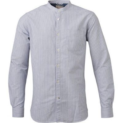 KnowledgeCotton Apparel - Stand Collar Striped Shirt (Skyway)